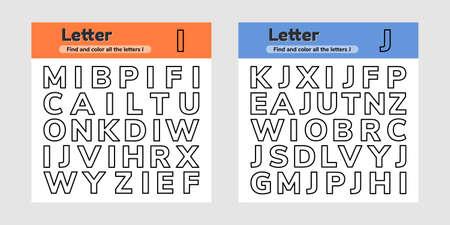 Vector illustration. Set educational worksheets for kids kindergarten, preschool and school age. Letters. Find and color. Ilustração