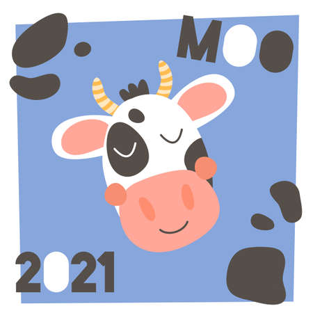 New year 2021. Cute funny farm animal for kids. Nursery print head cartoon cow. Text moo. Black, white, blue and pink.