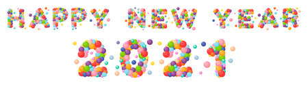 Vector cartoon letters happy new year 2021 for kids of the colored balls.