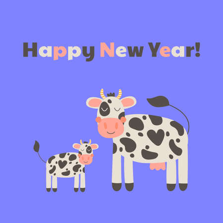 New year 2021. Cute mother cow with baby. Funny farm animals for kids.