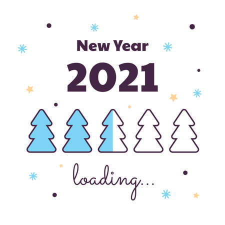 Happy New Year. Loading 2021. Download screen with Christmas tree. Progress bar.