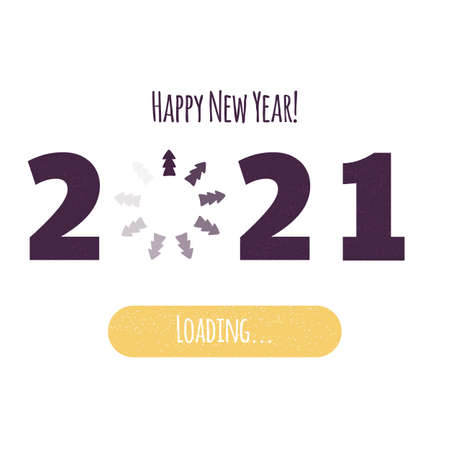 Happy New Year. Loading 2020. Download screen with Christmas tree. Progress bar. 矢量图像