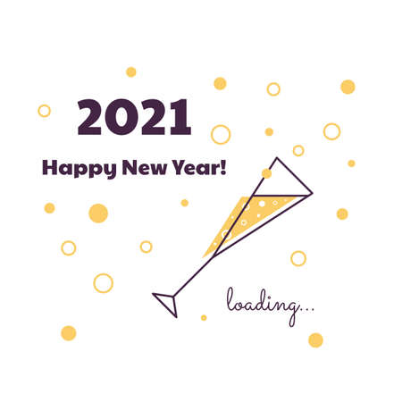Happy New Year. Loading 2020. Download screen. Progress bar. Glass of champagne.