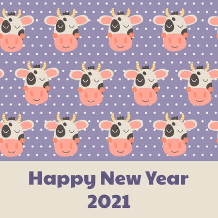 New year 2021. Pattern with cute funny head cow, dots. Nursery print farm animal. Black, white, violet and pink.