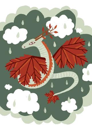 Vector illustration. Cute fairy character autumn dragon. Hand drawn. On sky cloud background.