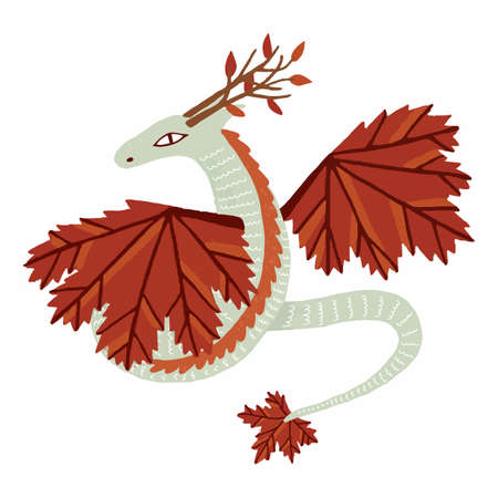 Cute fairy character autumn dragon. Hand drawn. Isolated on white background.