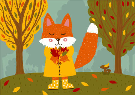 Cute fox in a yellow raincoat and rubber boots with a bouquet of autumn leaves in the forest. 矢量图像