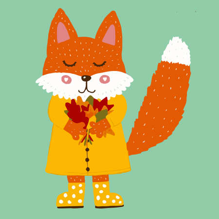 Cute fox in a yellow raincoat and rubber boots with a bouquet of autumn leaves.