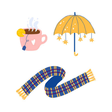 Hand drawn yellow cute umbrella with stars, cup of tea with bag and lemon, plaid scarf.