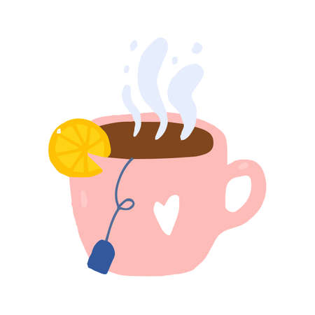 Cartoon cute cup of tea with bag and lemon.