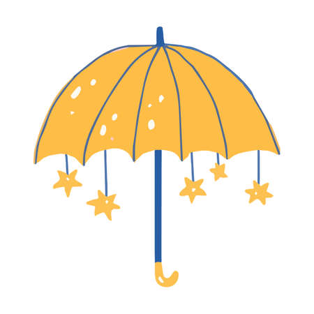Hand drawn yellow cute umbrella isolated on white background with stars. 矢量图像