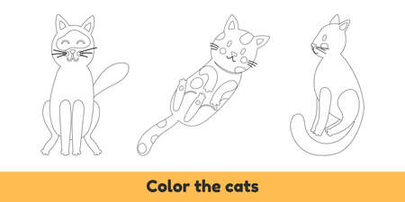 Vector illustration. Coloring book with cute cats. For kids kindergarten, preschool and school age.
