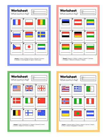 Set worksheet on geography for preschool and school kids. What countrys flag. With answers. Vector illustration. Vektoros illusztráció