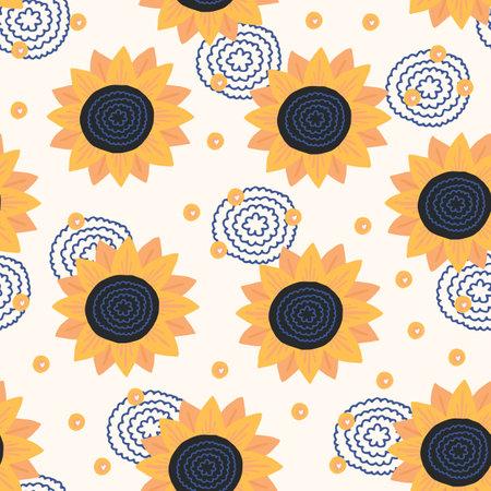 Seamless hand drawn pattern. Background with sunflower. 矢量图像