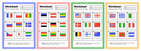 Set worksheet on geography for preschool and school kids. What country flag. With answers. 矢量图像