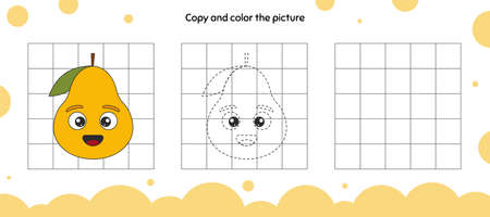 Educational game for attention for children of kindergarten and preschool age. Repeat the illustration. Copy and color the picture. Fruit. Pear.