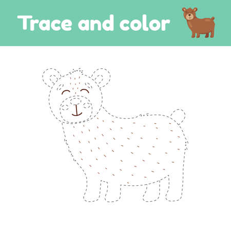 Coloring book with cute animal a bear. For kids kindergarten, preschool and school age. Trace worksheet. Development of fine motor skills and handwriting.