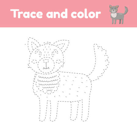Coloring book with cute animal a wolf. For kids kindergarten, preschool and school age. Trace worksheet. Development of fine motor skills and handwriting.