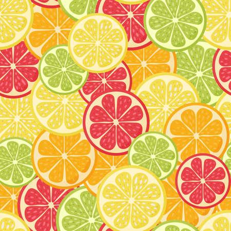 Seamless pattern. hand drawn cartoon citrus. Lemon, orange, grapefruit, lime. Vector illustration. 矢量图像
