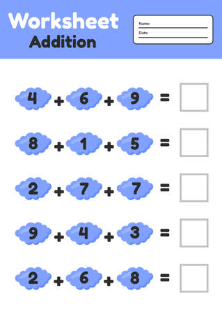 Vector illustration. Math game for preschool and school age children. Count and insert the correct numbers. Addition. Clouds. 矢量图像