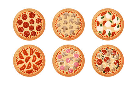 Set pizza with pepperoni, tomatoes, onions, olives, mushrooms, ham. Isolated on white background. Italian fast food. Vector illustration. 矢量图像