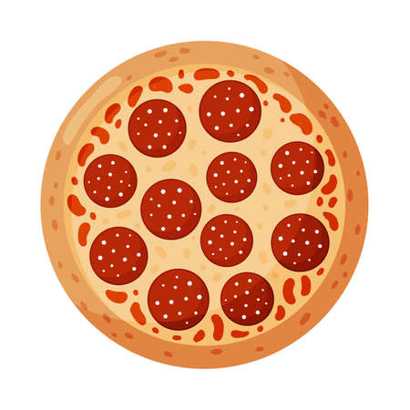 Pizza with pepperoni. Isolated on white background. Italian fast food. Vector illustration.
