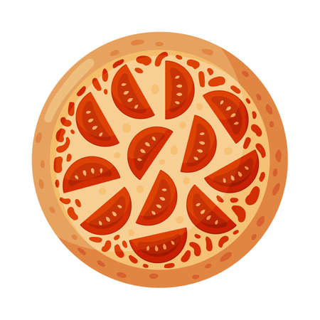 Pizza with tomatoes. Isolated on white background. Italian fast food. Vector illustration. 矢量图像