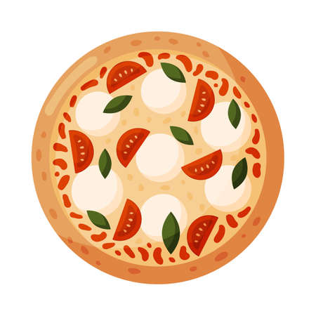 Pizza with tomatoes, mozzarella and basil. Isolated on white background. Italian fast food. Vector illustration.