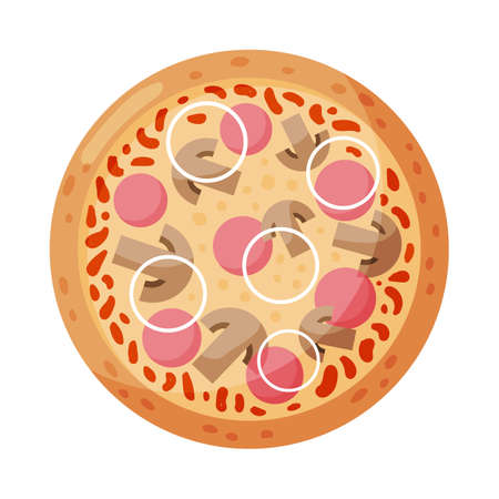 Pizza with ham, mushrooms and onions. Isolated on white background. Italian fast food. Vector illustration.
