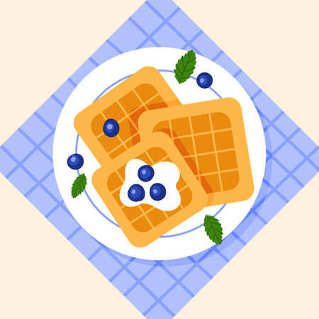 Belgian waffles with blueberries and mint on a plate. Breakfast. Vector illustration.