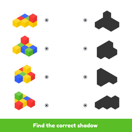 Vector illustration. Matching game for kids preschool and kindergarten age. Find the correct shadow. Colored cubes.