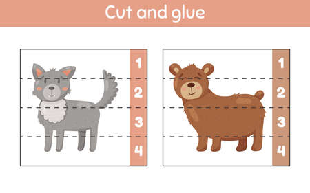 Vector illustration. Cut and glue. Learning numbers. Worksheet for kids kindergarten, preschool and school age. Wolf and bear.  イラスト・ベクター素材