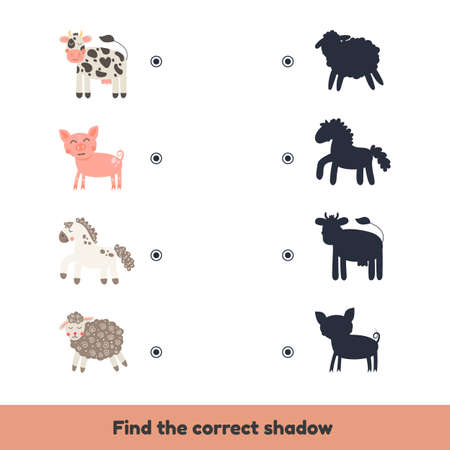 Vector illustration. Matching game for kids preschool and kindergarten age. Find the correct shadow. Cute farm animals.