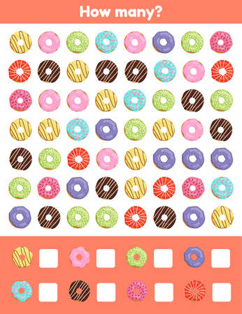 Vector illustration. How many. Donuts. Worksheet for kids kindergarten, preschool and school age. Learning numbers. Counting game.