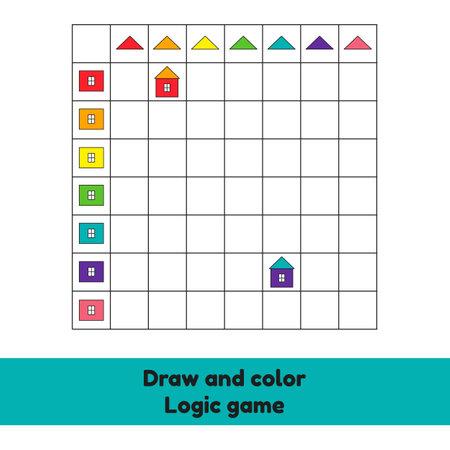 Vector illustration. Draw and color. Logic game. Houses. Worksheet for kids kindergarten, preschool and school age.
