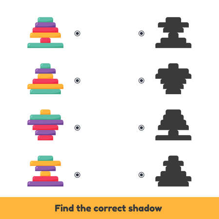Vector illustration. Matching game for kids preschool and kindergarten age. Find the correct shadow. Pyramids.  イラスト・ベクター素材
