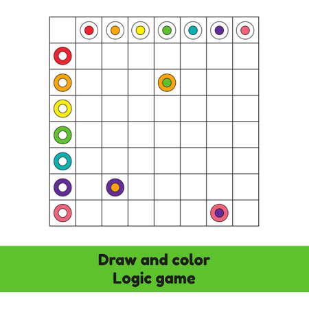 Vector illustration. Draw and color. Logic game. Circle. Worksheet for kids kindergarten, preschool and school age.
