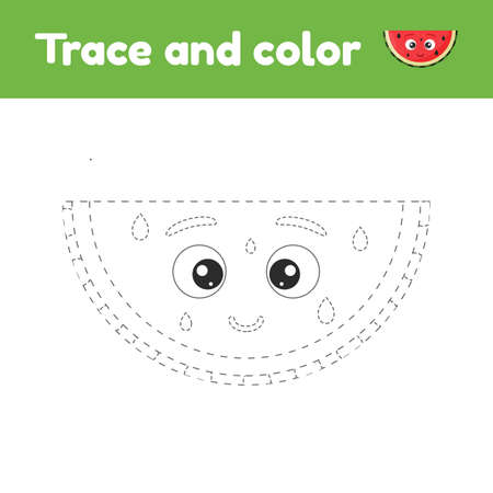 Coloring book with cute fruit a watermelon. For kids kindergarten, preschool and school age. Trace worksheet. Development of fine motor skills and handwriting. Vector illustration.