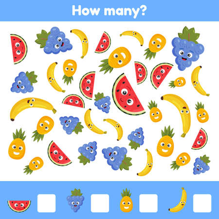 Vector illustration. How many fruits. Grapes, watermelon, pineapple, banana. Worksheet for kids kindergarten, preschool and school age. Learning numbers. Counting game.  イラスト・ベクター素材