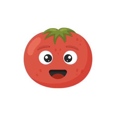 Vector illustration. Happy cute tomato for kids in cartoon style isolated on white background. Funny character vegetable. 矢量图像