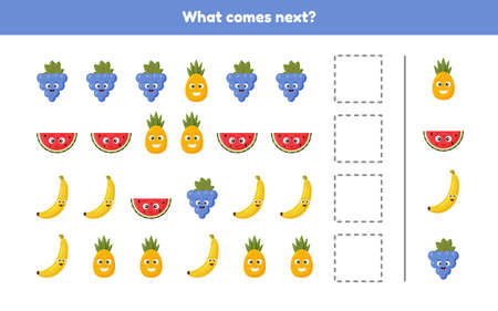 Vector illustration. What comes next. Continue the sequence. Fruits. Worksheet for kids kindergarten, preschool and school age.  イラスト・ベクター素材