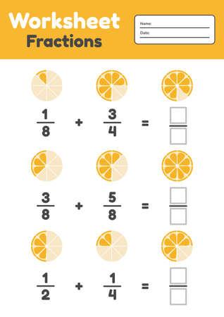 Woorsheet fractions for kids. Addition. Math for prechool and school children. Orange. Vector illustration.
