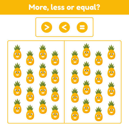 More, less or equal. Educational math game for kids preschool and school age. Fruit. Pineapple.