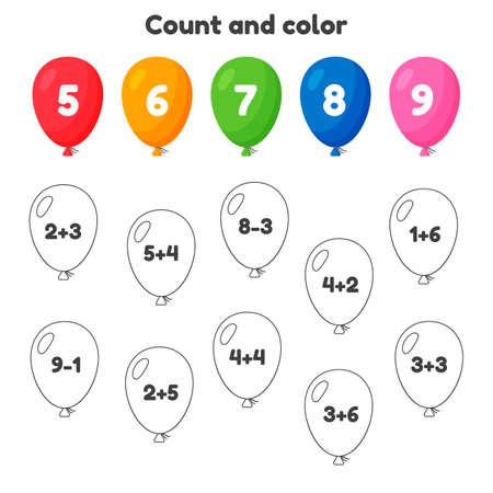 Coloring book number for kids. Worksheet for preschool, kindergarten and school age. Addition. Count and color.