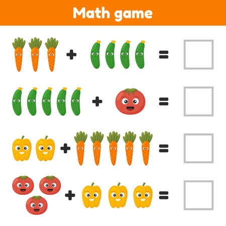 Math game for preschool and school age children. Count and insert the correct numbers. Addition. Vegetables.