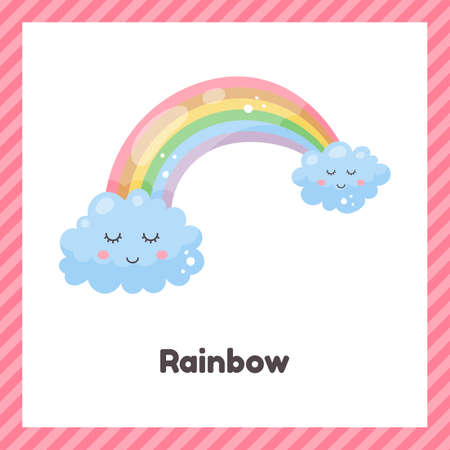 Vector illustration. Cute weather rainbow for kids. Flash card for learning with children in preschool, kindergarten and school.