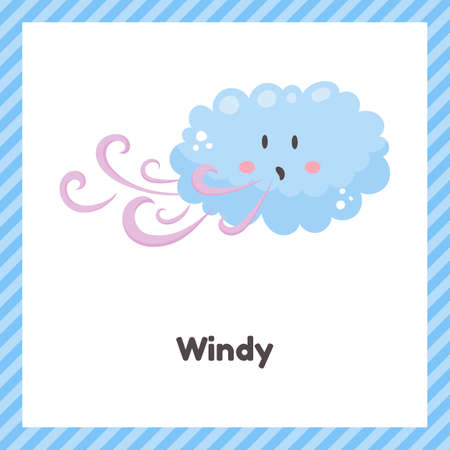 Cloud. Cute weather windy for kids. Flash card for learning with children in preschool, kindergarten and school. 矢量图像
