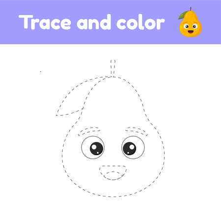 Coloring book with cute fruit a pear. For kids kindergarten, preschool and school age. Trace worksheet. Development of fine motor skills and handwriting.