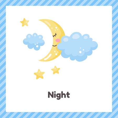 Half moon and cloud. Cute weather night for kids. Flash card for learning with children in preschool, kindergarten and school. 矢量图像