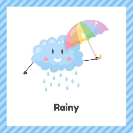 Cloud with umbrella. Cute weather rainy for kids. Flash card for learning with children in preschool, kindergarten and school. 矢量图像